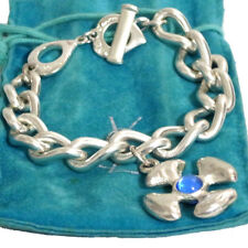 "Auth Yves Saint Laurent YSL Silvertone Bracelet w/Rhinestone 21cm/8.3"" Vintage F"