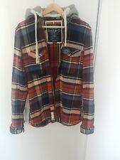 Superdry thick cotton detachable hooded shirt Size Large GOOD CONDITION