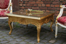 PROMO: Table basse carré 80x80cm bois massif doré à la feuille d'or d'un château