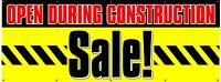 "Construction Sale Banner 36""x96"" Free Shipping & Customization, Ready to Hang!"