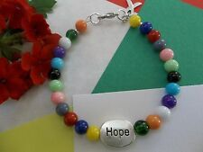 'HOPE COMES IN ALL COLORS' CANCER AWARENESS BEADED CHARM BRACELET