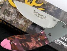 Couteau Browning For Her Pocket Folder Pink Camo Acier 12C27 Manche Alu BR894