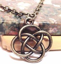 "CELTIC KNOT_Small Bronze Pendant on 18"" Necklace_Irish Buddhist Pagan_116N"