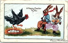 1930 Whitney Postcard Bunnies Humanized Anthropomorphic Clothes Easter Eggs