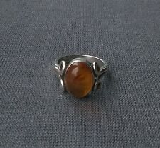 AUTHENTIC 925 SOLID STERLING SILVER OLD HEAVY BALTIC AMBER OVAL RING N 1/2
