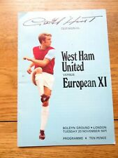 More details for west ham v european xi geoff hurst testimonial nov 23rd 1971