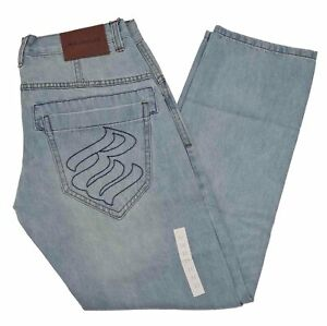 Rocawear Men's Stonewash Blue Denim Jeans, New Time Is Money Hip Hop Era, R22