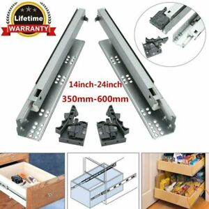 1 Pair Heavy Duty Drawer Runners Slides Concealed Undermount Full Extension AU