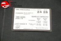 1971 Chevy Chevelle Malibu Tire Air Pressure Decal F78x14 Tires GM # 3988066