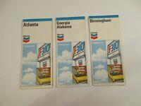 Lot of 3 Chevron 1971 Atalanta Birmingham Georgia Alabama Travel Road Maps-BoxM3