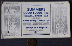 1930-40 Era Michigan Detroit Tigers Major League baseball schedule blotter-RARE!