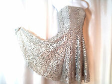 NWT CACHE Silver Metallic Lace  Evening PARTY - PROM Dress      10 L