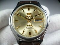 Rare Vintage Orient 3 Stars Crystal 21 Jewels Automatic Japan Made men's Watch