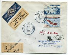 LETTRE  PARIS AVIATION ETRANGER NEW DELHI RECOMMANDE RETOUR PARIS BOMBAY 1955
