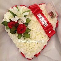 Artificial Silk Funeral Flower Heart Memorial Tribute Rose Wreath Personalised