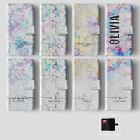 Personalised Name iPhone Samsung Wallet Phone Case Iridescent Marble Holographic