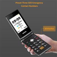 The Old Senior Flip Phone GSM Big Push-Button Mobile Black Dual Sim FM Unlocked