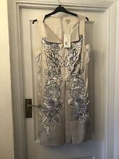 New Temperley London Iris Oyster/White Embroidery Silk Mix Party Dress,12