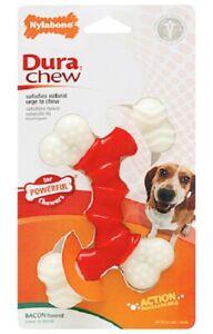 Nylabone DURA CHEW DOUBLE BONE BACON FLAVOR Dog Chew MADE IN USA 3 SIZE CHOICES