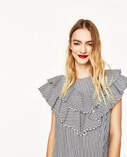 Zara - Striped Poplin Blouse With Frill - Small - 8566/050/800 - BNWT