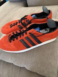 Adidas Gazelle Orange Fluffy Suede Black Leather Stripes Uk Size 11 Trainers