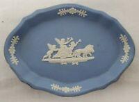 Blue Wedgwood Jasperware 50\u2019s Club Shaped Dish Ashtray Trinket Holder 4.5\u201d