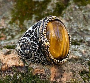 Solid 925 Sterling Silver Vav Design Oval Cabochon Tiger's Eye Stone Men's Ring