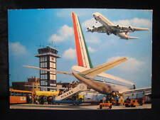 ALITALIA Airline Issue DC-8 Airplane Milano Malpensa Airport Vintage Postcard