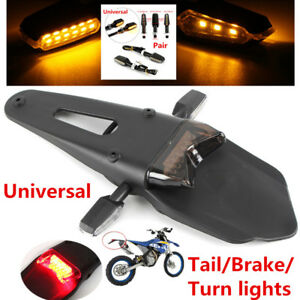 Universal Bike ATV Enduro Smoke LED Fender Brake Tail Light+2x Turn Signal Lamps