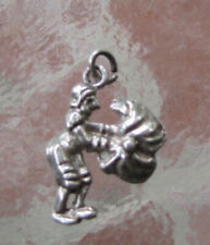 VINTAGE ENGLISH STERLING SILVER LADY WITH UMBRELLA BRACELET CHARM