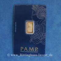 Lingotes de Oro 2,5g 2.5G Gramos Pamp Suisse Fortuna Blister 99,99 Bar 2,5
