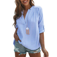 Womens Summer Long Sleeve Tops Shirt V-Neck Ladies Casual Loose Blouse T-Shirts