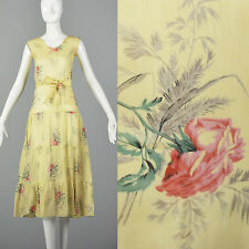 XXS 1930s Dress Sheer Yellow Day Dress Large Rose Print 30s Vintage Day Wear