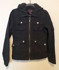 Jack BB Dakota Black Hood Jacket Womens Canvas Fleece Medium Euc Twilight Bella