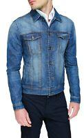 Giubbotto di Jeans uomo cotone denim basic giacca giubbino mezze stagioni casual