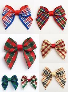 Tartan Bows - 4cm Pre Tied 15mm Ribbon 1, 6 or 12 Pack Wedding Xmas Cards Craft
