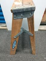 Vintage Werner W130-4 Shabby Rustic Wooden Step Ladder with Paint Splatters