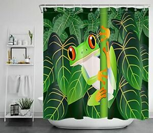 HVEST Tropical Frog Shower Curtain Cute Frog with Green Palm Leaves in Forest...