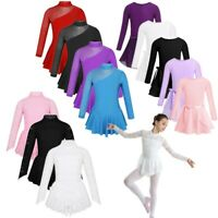 Girls Kids Skating Dress Mock Neck Leotard Gymnastic Costume Ballet Dance Dress