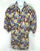Reyn Spooner Hawaiian Traditionals Shirt Wine Mens Size 2XL Button Front SS G1