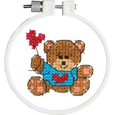 Brown Teddy bear with heart Kids Stamped Cross Stitch Kit by Janlynn 0211815