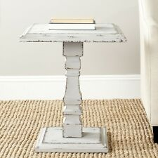 Vintage Rustic Distressed Accent End Side Table Pedestal Wood Antique Gray-White