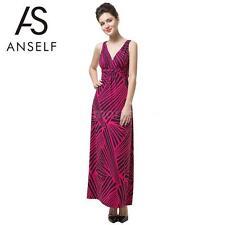 V-Neck Striped Regular Size Sleeveless Dresses for Women