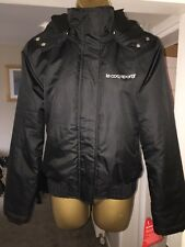 Le Coq Sportif Black Jacket UK Size 8 / Small With Detachable Fur Lined Hood NEW