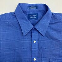 Town Craft Button Up Dress Shirt Men's 18 Short Sleeve Blue Plaid Wrinkle Free