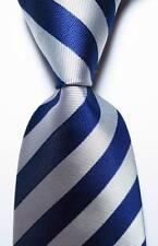 New Classic Striped Dark Blue Silver Gray JACQUARD WOVEN Silk Men's Tie Necktie