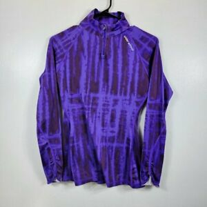 Under Armour Women Purple Printed 1/4 Zip Fitted Cold Gear Long Sleeve Top Sz S