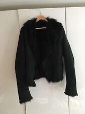 Joseph sheepskin shearling jacket Toscana lambskin fur black coat sz M UK 8-10