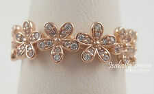 DAZZLING DAISY Authentic PANDORA Rose GOLD Plated Band RING 6/52 180934CZ NEW