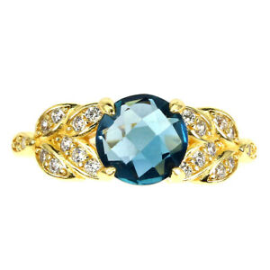 Round London Blue Topaz 8mm Cz 14K Yellow Gold Plate 925 Sterling Silver Ring 5